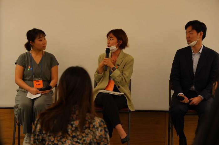 왼쪽부터 김은지, 박혜민, 정경선 루트임팩트 CIO 님